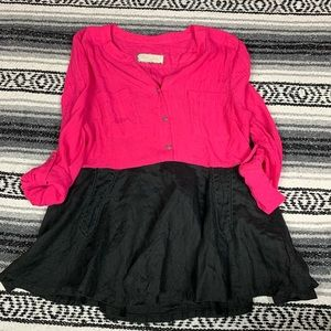 Pink Black Embroidered Tunic Top CC4